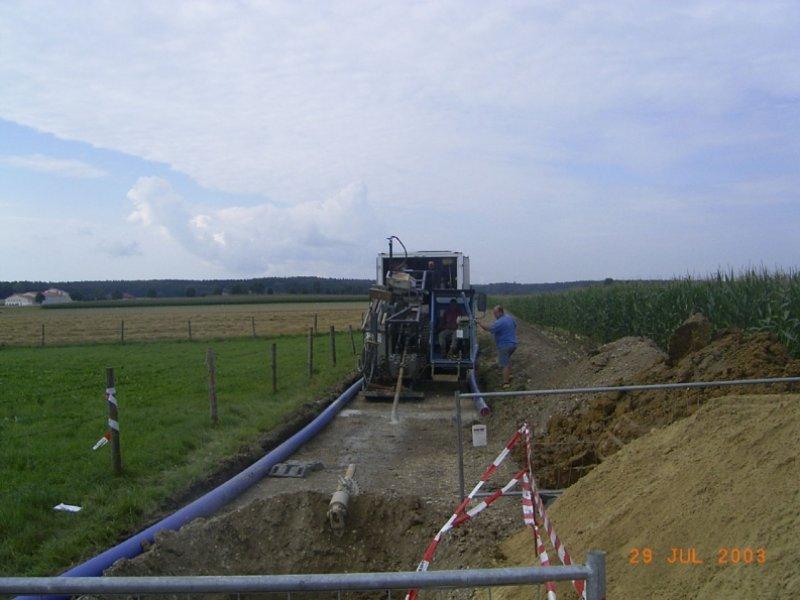 Neubau Wasserleitungsverbund Moorenweis-Eismerszell, Horizontalbohrverfahren